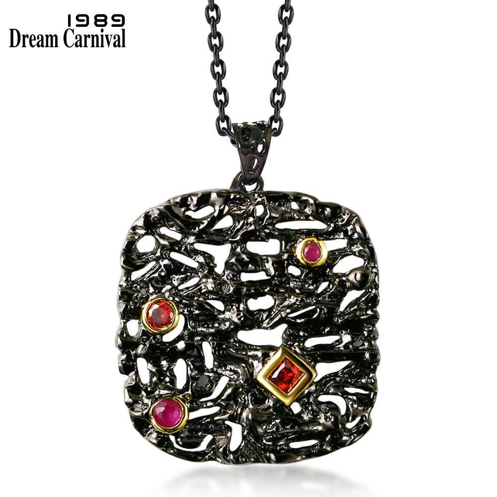 DreamCarnival1989 Neo-โกธิคยาวสร้อยคอสำหรับผู้หญิงสีดำสีทองบิ๊กจี้สีแดงCZกลวงC Ollanaเครื่องแต่งกายถ่านหินBijoux