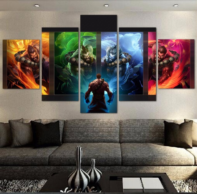 Modern Living Room Canvas Art Sofa Set For 5 Pieces Hd Painting League Of Legends Game Wall Picture Home Decoration