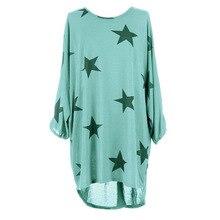 2017 новые летнее платье Дамская мода плюс Размеры пятиконечная звезда напечатаны длинным рукавом Женский повседневные платья LJ9503Y