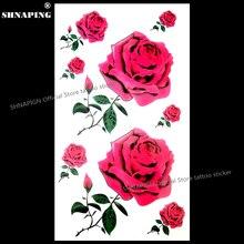SHNAPIGN Sexy Red Roses Temporary Tattoo Body Art Arm Flash Tattoo Stickers 17x10cm Waterproof Fake Henna Painless Tatoo Sticker