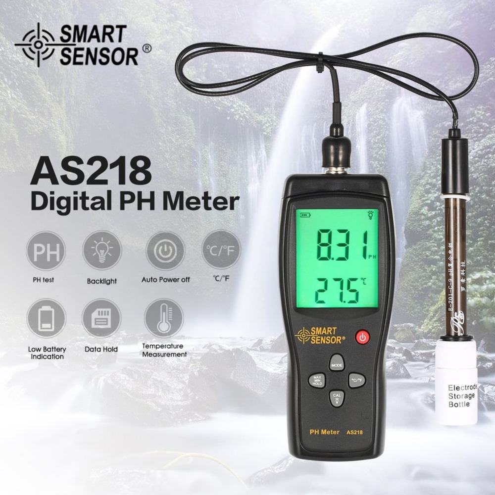 Smart Sensor AS218 Digital PH Meter Range 0.00~14.00pH Soil PH Tester Water PH Acidity Meter LCD Display Liquid PH Meter 4 in1 lcd digital temperature sunlight aquarium ph controller ph meter of soil acidity toprak analiz tds ec nitrate tester