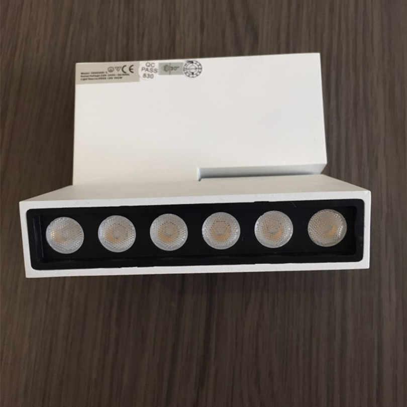 Бесплатная доставка 6 Вт 12 Вт творческий прожектор светодиодный свет трек AC85-265V площадь полосы гостиной на потолке трек свет 6 шт./лот