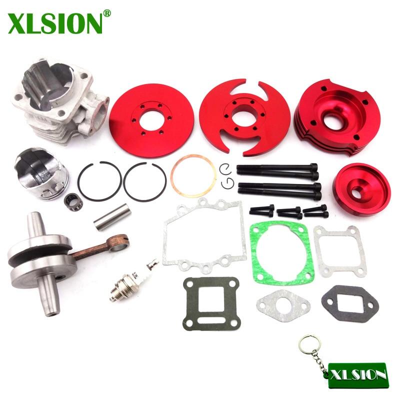 XLSION 44mm Cylinder Big Bore 3 grooves red Kit Crankshaft Gasket Set For 47cc 49cc Mini