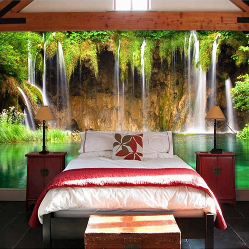 Papel Tapiz con foto de paisaje natural de cascada de estilo chino, Papel Tapiz para sala de estar, Hotel, decoración clásica, Papel Tapiz no tejido