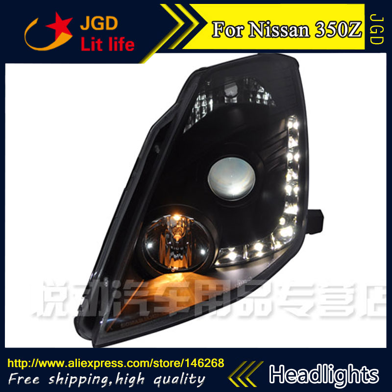 Free shipping ! Car styling LED HID Rio LED headlights Head Lamp case for Nissan 350Z 2003-2008 Bi-Xenon Lens low beam