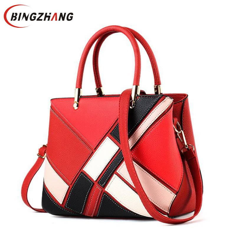 Luxury Designer Women Handbag Fashion Patchwork Hit Color Female Messenger Bag Soft Leather Women Crossbody Shoulder Bag L4-3326 new fashion women girl student fresh patent leather messenger satchel crossbody shoulder bag handbag floral cover soft specail