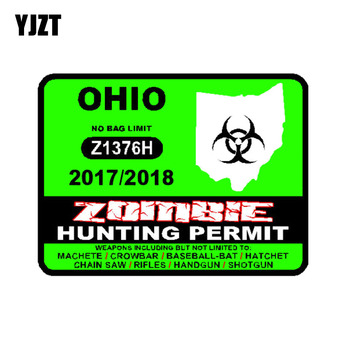 YJZT 10.2CM*7.8CM Lnterest Car Sticker OHIO U S Zombie Hunting Permit 2017 Outbreak Response Team Reflective Decal C1-7455 image