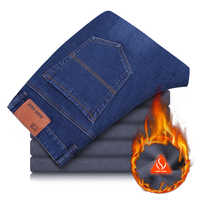 Ciepłe polary Jeans męskie zimowe wysokiej jakości znane marki aksamitne spodnie Jean uciekają ciepłe miękkie męskie spodnie 40 42 44 duży rozmiar