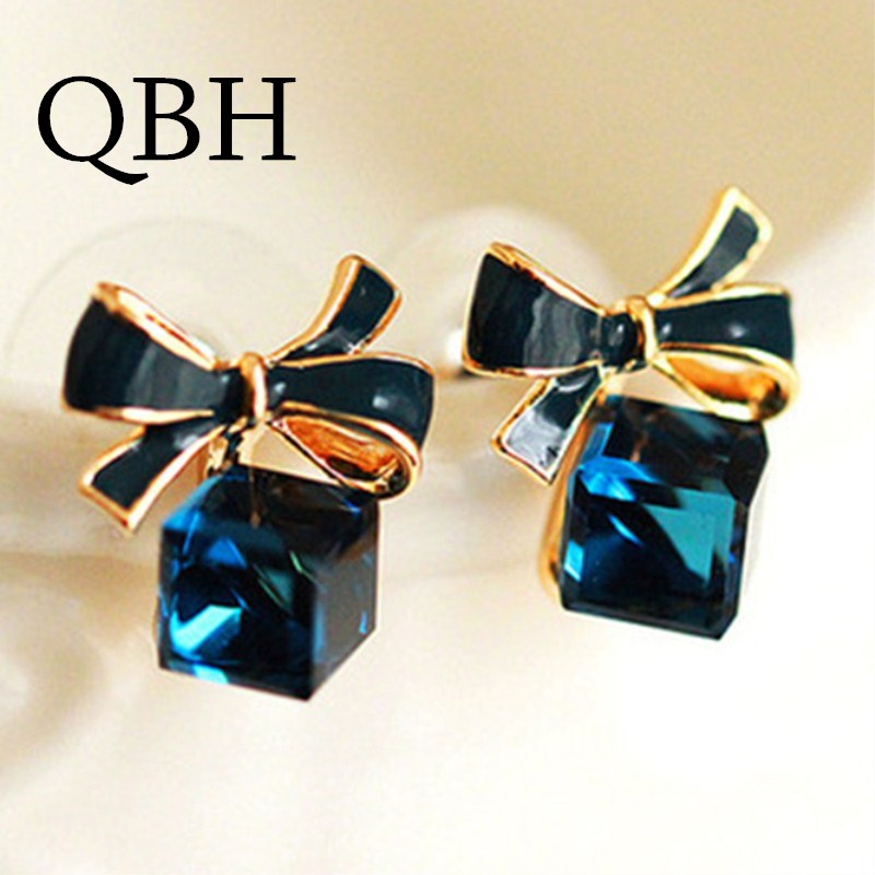 High Quality Fashion Chic Shimmer bow knot Cubic Green Blue Rhinestone Stud Earrings For Women Crystal Earrings
