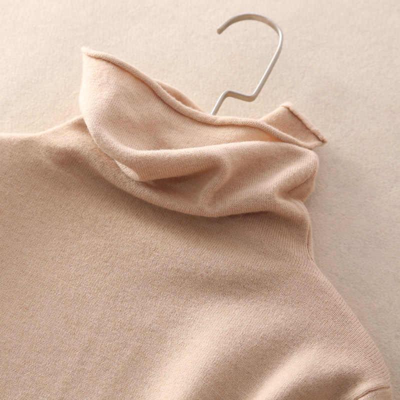 Оптовая цена 2019 новый стиль Женский вязаный кашемировый свитер стоячий воротник труба рукав рисунок стиль сплошной цвет пуловер