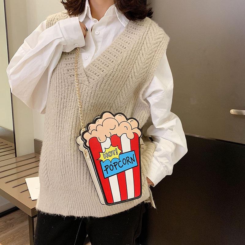 36e1ae16e6 2019 Personality Design Cartoon Popcorn Shaped Women Shoulder Bags New  Small Chain Crossbody Bag Girl Purse