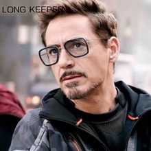 Men Vintage Steampunk Sunglasses Brand Designer Tony Stark Iron Male Goggles Retro Windproof Steam Punk Metal Sun Glasses UV400