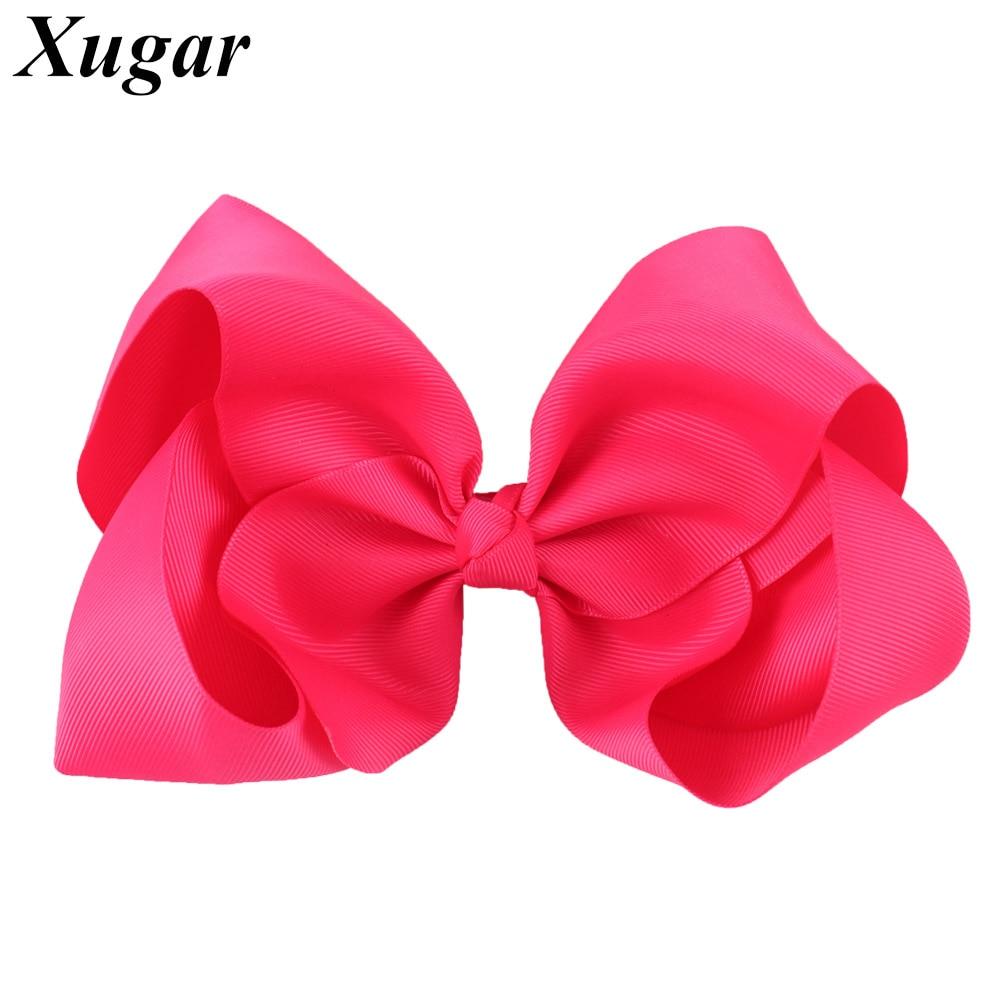 8 Large Grosgrain Ribbon Hair Bows Hairpins Barrette Bowknot Headwear Solid Children Hair Clip For Girls Hair Accessories