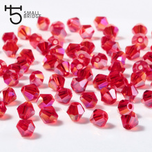 4mm Czech Glass Crystal Bicone Beads ab Color Red Loose Spacer Beads for Jewelry Making Diy Necklace 200pcs Lot Wholesale Z209