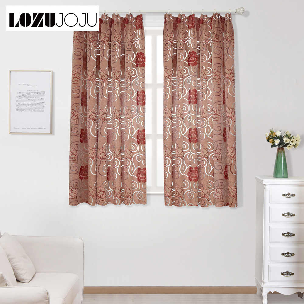 Ready made floral semi-blackout short curtains for living room kitchen window modern design jacquard treatments