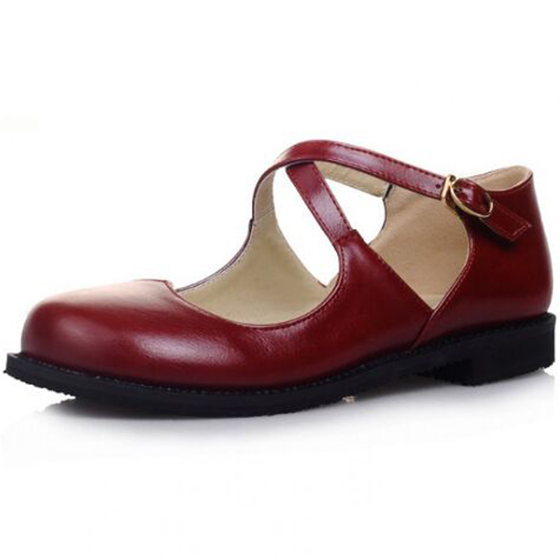 Women's shoes Fashion New Sweet Womens Round Toe Casual Flats Buckle Cross Strap Mary Jane Girls Ballet Flats Shoes Plus Size plus size 34 41 black khaki lace bow flats shoes for womens ds219 fashion round toe bowtie sweet spring summer fall flats shoes