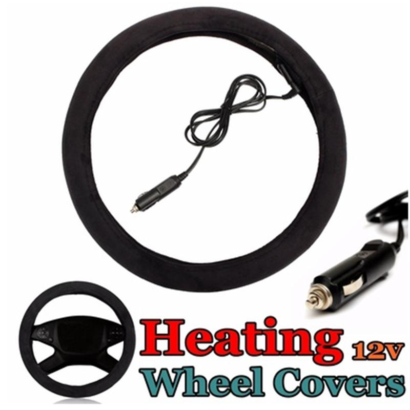 Winter car Heated Steering Wheel Cover 12V Auto Car Cigar Lighter Electric Car Warm Steering Cover