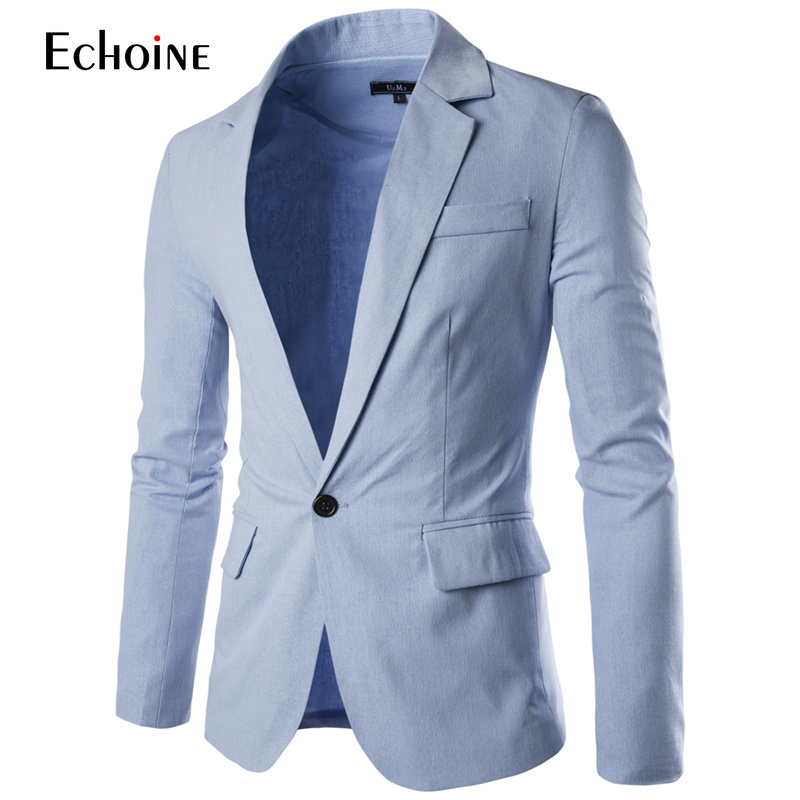 2019 Spring Autumn Fashion Casual Linen Blazer Men Blazer Slim Fit Long Sleeve Single Button Suit Coat Men Blazer Jacket