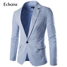 2019 Spring Autumn Fashion Casual Linen Blazer Men Blazer Slim Fit Long Sleeve Single Button Suit Coat Men Blazer Jacket men houndstooth single button blazer