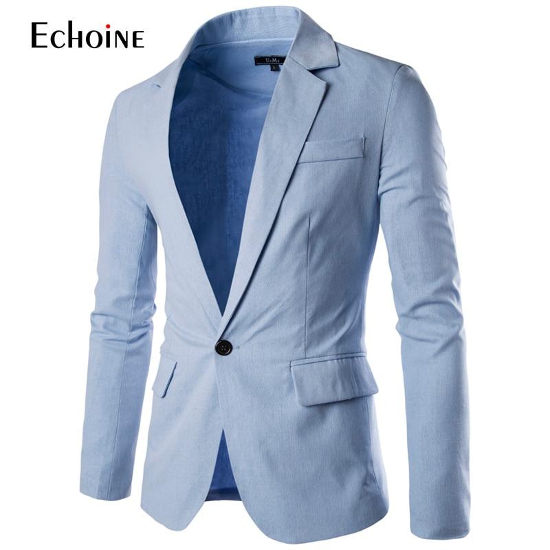 2019 Frühling Herbst Mode Lässig Leinen Blazer Männer Blazer Slim Fit Langarm Single Button Anzug Mantel Männer Blazer Jacke