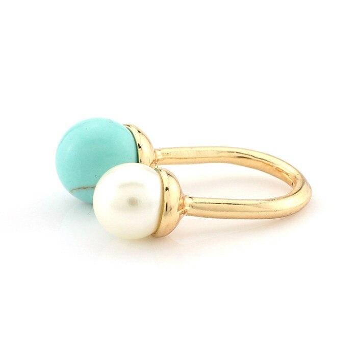 Женское кольцо с искусственным жемчугом и камнем Howlite, регулируемое кольцо золотого цвета, u-образное овальное кольцо для женщин, бижутерия - Цвет основного камня: GREEN TURQUOISE