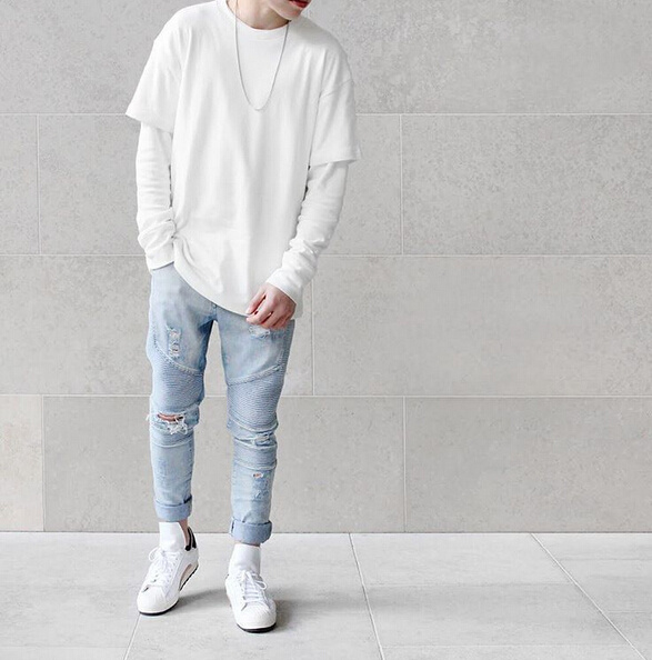 Fashion represent clothing designer pants slp blue/black destroyed mens slim denim straight ...
