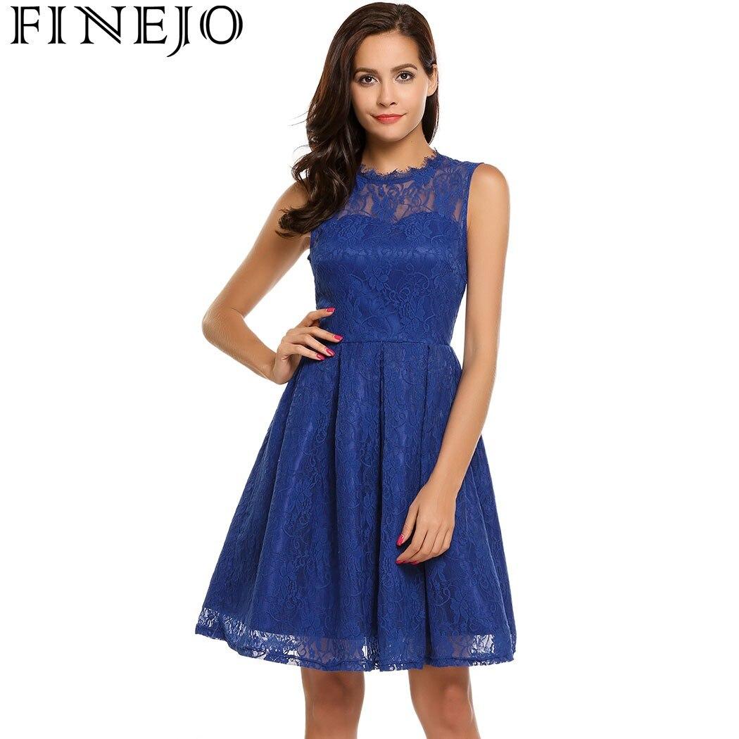 FINEJO Neformální Ženy Letní Krajkové Šaty 2017 Nové Módní - Dámské oblečení