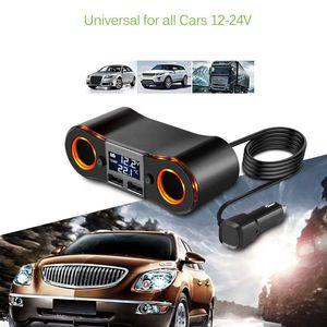 Image 5 - Socket Cigarette Lighter Splitter ZNB02 Car Charger Adapter 3.5A Dual USB Ports Support Volmeter / Temperature LED Display for