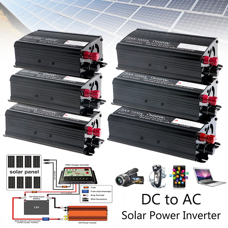 Solar Power Inverter 3000W Peak 12V DC To 230V AC Modified Sine Wave Converter Auto Inverters push-pull 300W/500W/1000W/1500W
