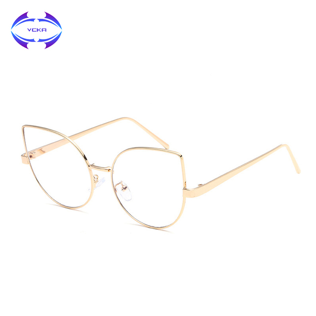 d75fd8f29d7 VCKA Fashion Cat Eye Optical Eye Glasses Women Men Clear Lens Big Metal  Glasses Frame Retro Female Male Goggle Eyeglasses