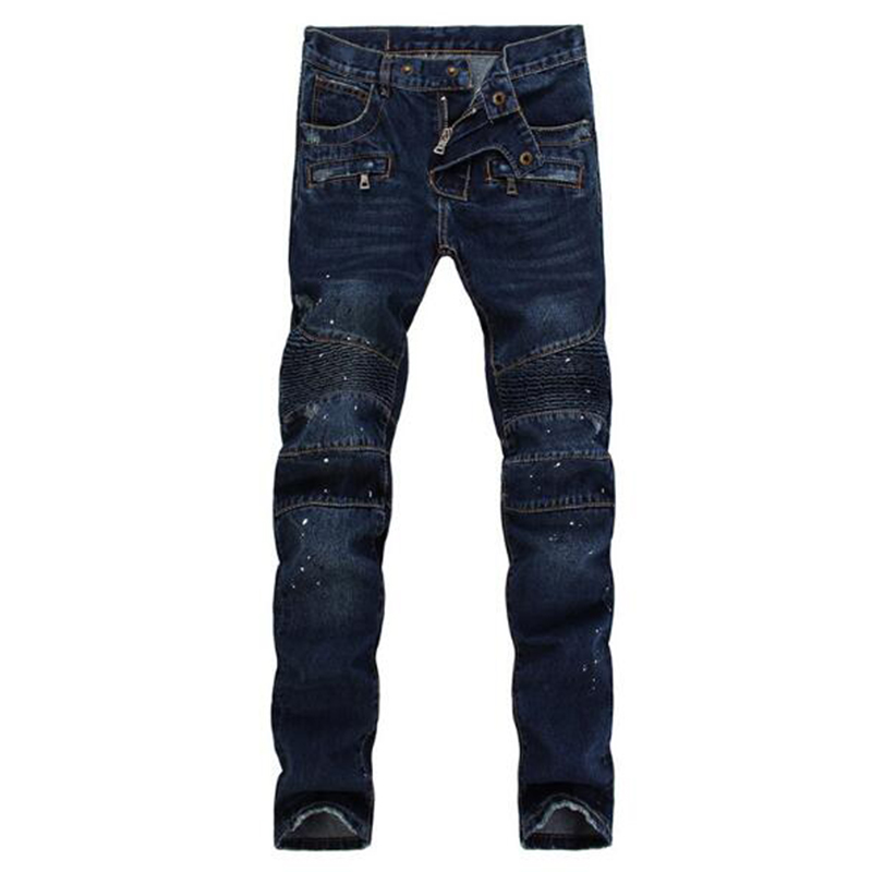 ФОТО Mens Biker Jeans Men Fashion dark blue Cotton Denim Jeans Men Slim Washed Men's Jeans Pants Skinny Jeans Men trousers Homme