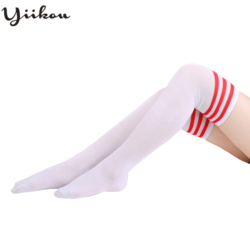 Female Japanese Spring and Autumn College wind cotton striped stockings three bars over the knee high tube student stockings in Stockings from Underwear Sleepwears