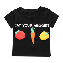 Cute Cartoon Baby Boys Girls Clothes Tomato Carrot Vegetable Short Sleeve Printing T-shirt Summer Casual Kids Clothing Tops Tees