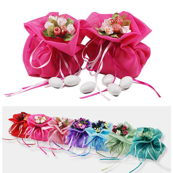 Italian Style Wedding Favor Candy Gift Bags With Artificial Handmade Flower Bouquets For Party Favours Table Decorations Supplie
