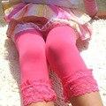 Симпатичные Малышей Дети Девушки Конфеты Кружева Бархат Тонкий Поножи Эластичный Брюки 5-9 Т