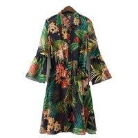 Vintage Flower Print Kimono Cardigan Long Shirt Women Floral Printed Camisas Femininas Manga Longa 2017 Blouses