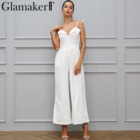 Glamaker Halter Backless Wide Leg Jumpsuit Romper Women Casual Button Slim V Neck Long Playsuit Autumn