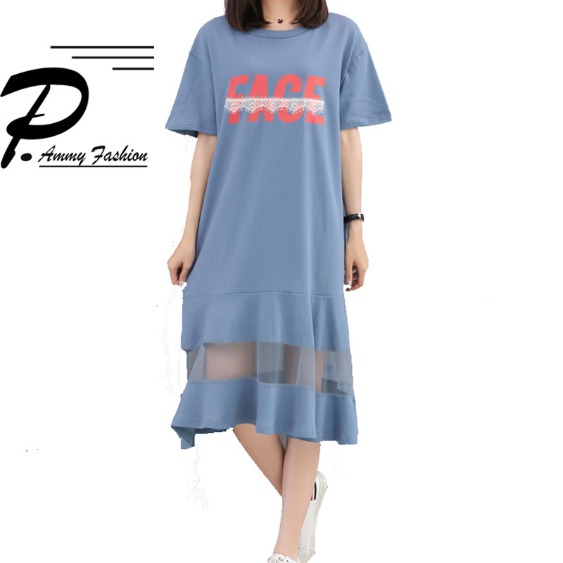 US $14.78 49% OFF|2018 Korean version Letters Print short Sleeve Splice  Cotton Jumper Dress Summer Plus Size Tunic Dress Big Size Loose Vestidos-in  ...