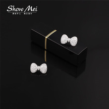 Sliver Color Rhinestone Bow Brooches for Women small Bowknot Brooch collar Pin  Fashion Jewelry Accessories for women
