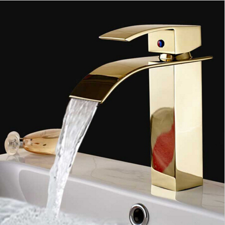 New Luxury Fashion Solid Brass Square Deck Mounted Waterfall Basin Faucet Sink Faucet Bathroom Faucet Single HandleNew Luxury Fashion Solid Brass Square Deck Mounted Waterfall Basin Faucet Sink Faucet Bathroom Faucet Single Handle