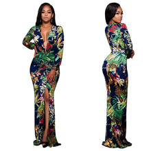 Europe and the United States V-neck print Slim female dress fashion sexy long section large size ladies dress fat MM open dress womens spring off the shoulder dresses 2018 europe and united states brand autumn female print dress casual ladies long dress