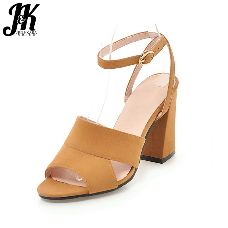 JK New High Heeled Summer Sandals Women Open Toe Flock Ankle Strap Hoof Heels Footwear 2018 Fashion Party Ladies Shoes Big Size wholesale lttl new spring summer high heels shoes stiletto heel flock pointed toe sandals fashion ankle straps women party shoes