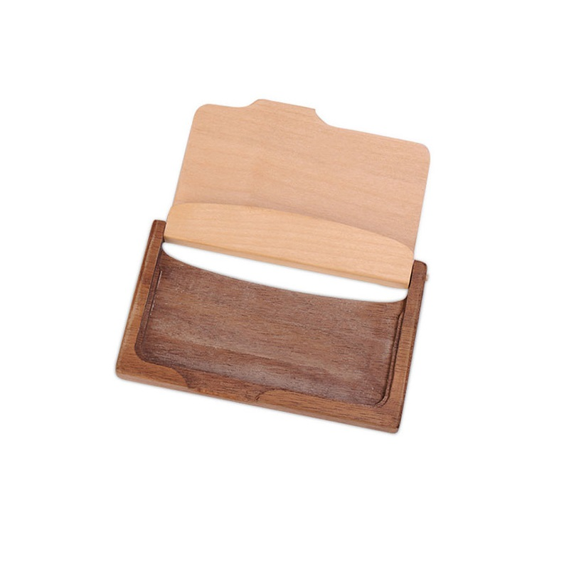 Vintage Wooden Business Card Storage Box ID Credit Cards Holder ...