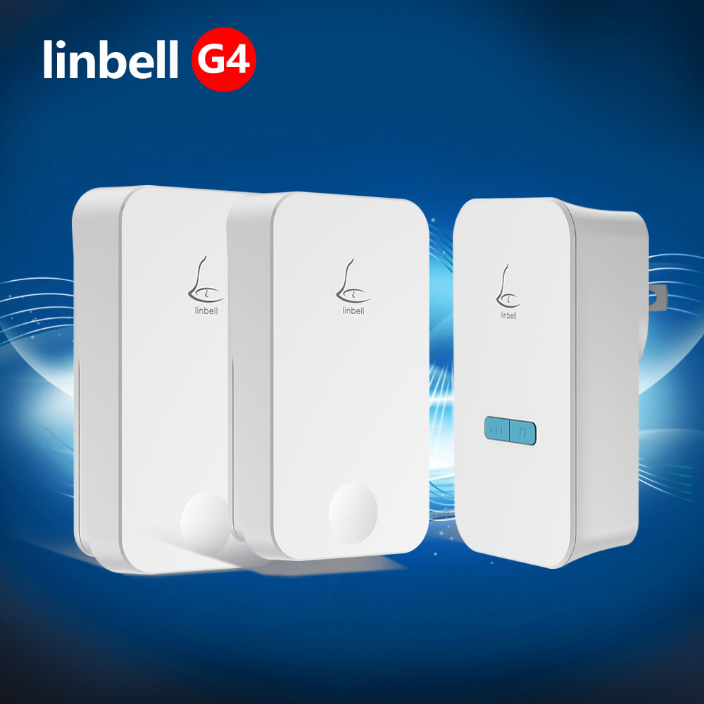 Linptech LinBell G4 Call bell for old electric waterproof wireless door bell 2 buttons outdoor wireless remote control doorbell wireless service call bell system popular in restaurant ce passed 433 92mhz full equipment watch pager 1 watch 7 call button