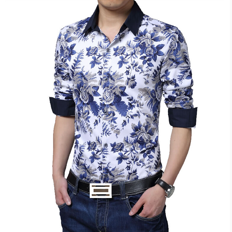New Arrival Mens Casual Shirt Fashion Flower Long Sleeve Shirt Mens Clothing Trend Casual Slim Fit Office Shirts Men Work Shirt