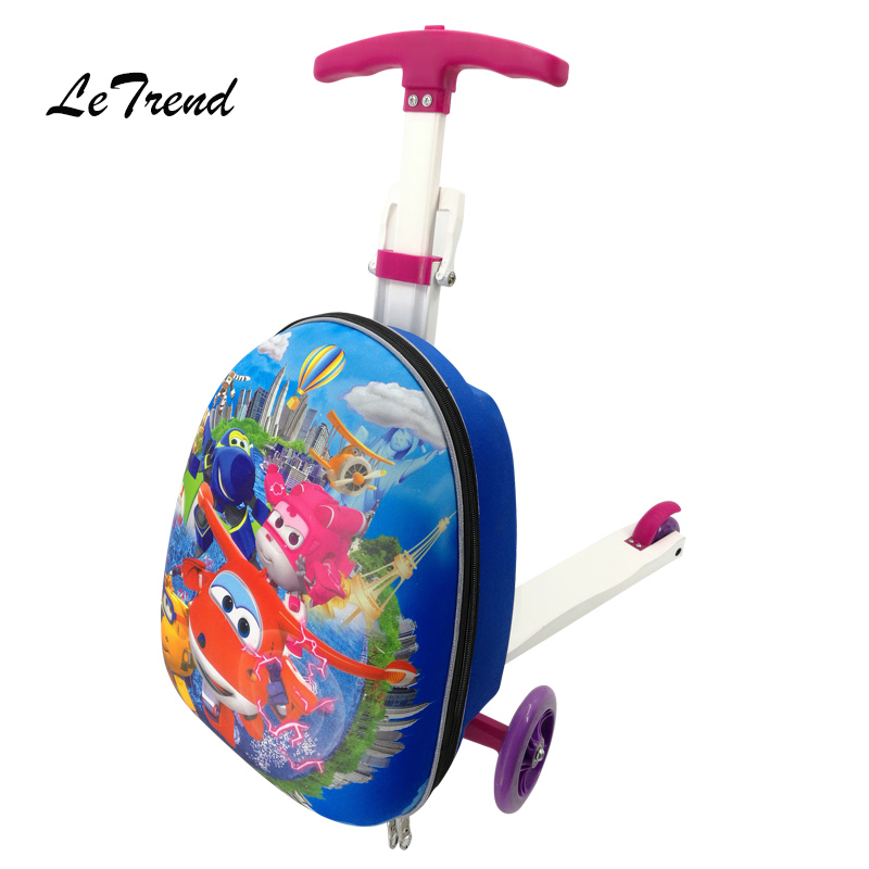 Letrend Children Rolling Luggage Casters Wheels Suitcase Trolley Baby Travel Bag Cute Cartoon 18 inch Mini Carry On School Bag