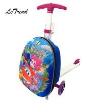 Letrend детей Сумки на колёсиках Колёсики Колёса чемодан тележка детская дорожная сумка милый мультфильм 18 дюймов мини вести школьная сумка