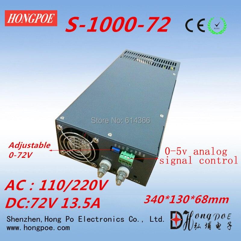 цены Free Shipping 1000W 0-72v power supply S-1000-72 0-5V analog signal control 72V power supply 72V 13.5A AC 110 or 230V input
