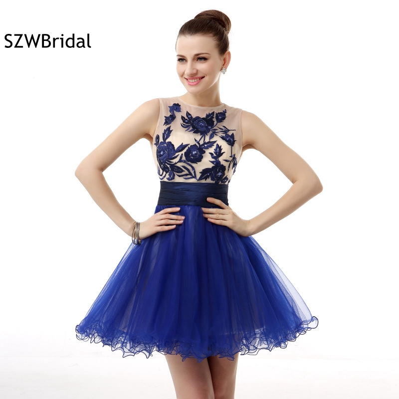 New Arrival Royal blue   Cocktail     dresses   Mini 2019 Embroidery Tulle Jurken ever pretty   cocktail   party   dress