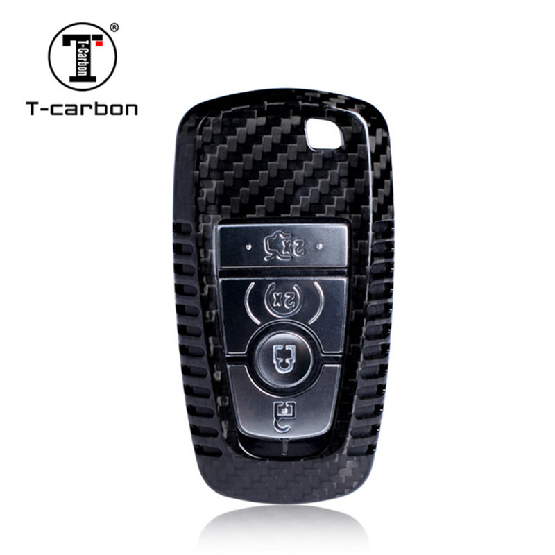 Car Styling Pure Carbon Fiber Car Key Case Cover Shell bag For Ford New Mondeo Edge Mustang 2018 Car Accessories цена